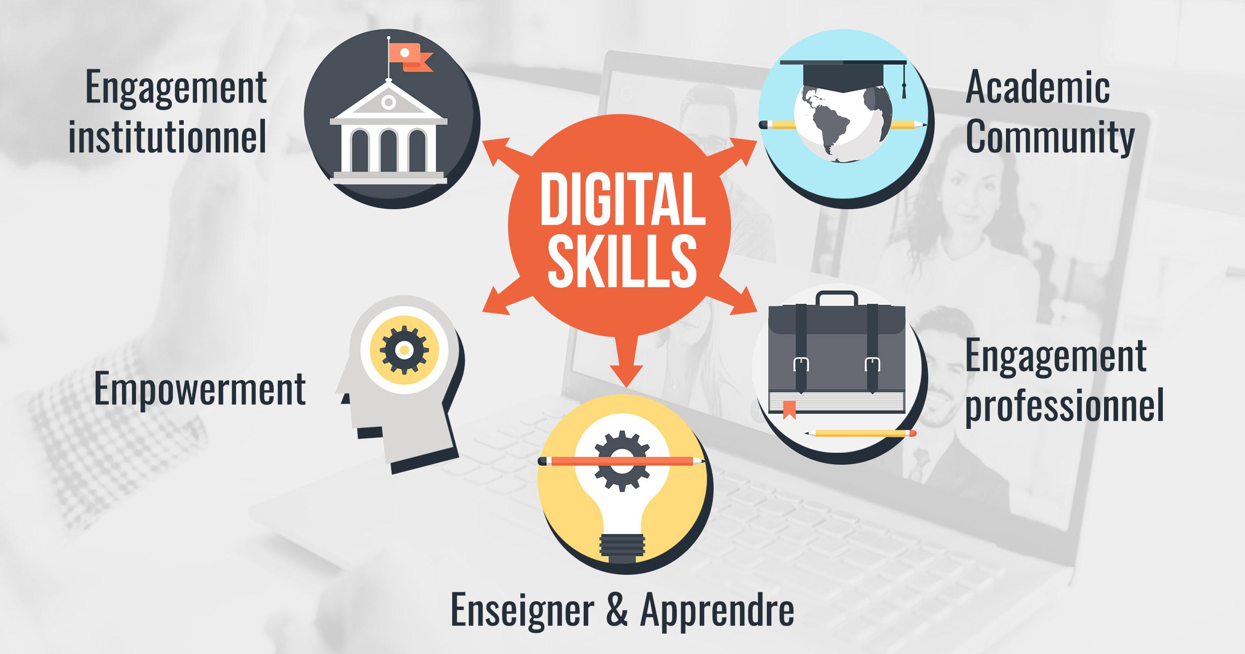 Schema presentant les digital skills des enseignants